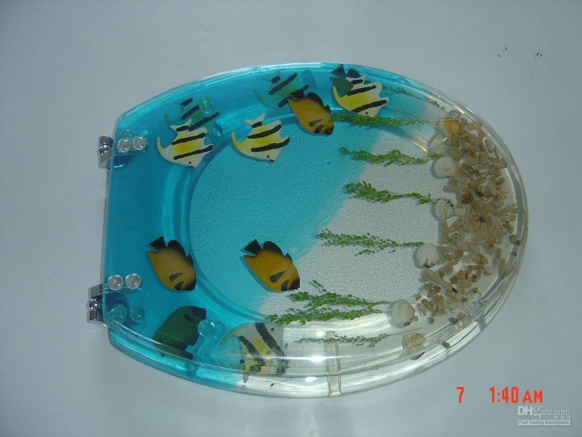 Fish tank toilet - Tropical Fish Clear Polyresin Toilet Seat