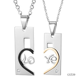 Wholesale Heart Shape Pendants For Couples - fashion titanium steel two half heart shape pendant necklace jewelry for couple engagement or wedding jewelry