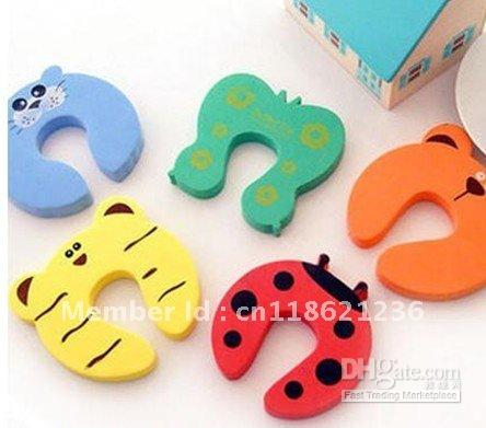 Baby Gates Canada - 60pcs Child kids Baby Animal Cartoon Door Jammers Stop sholder lock Safety guard Finger Protect