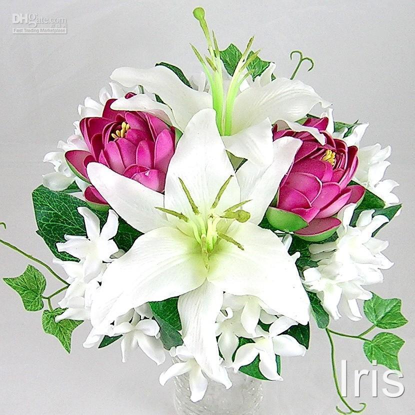 Artificial Silk Flower Wedding Purple Lotus Bouquet
