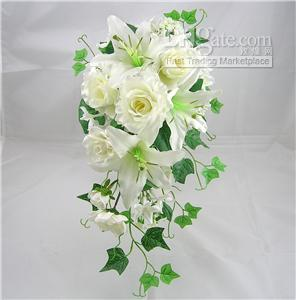 Wedding Silk Flower Rose Lily Hanging Bouquet Ivory Headpiece Wholesale Hair Accessories From Romanticweddinggown 954