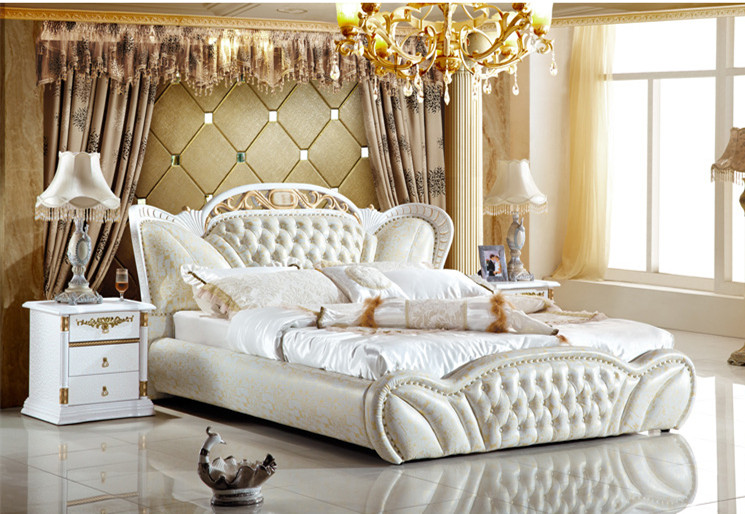 Genuine Leather Bed Luxury Style Golden Simple Fasion