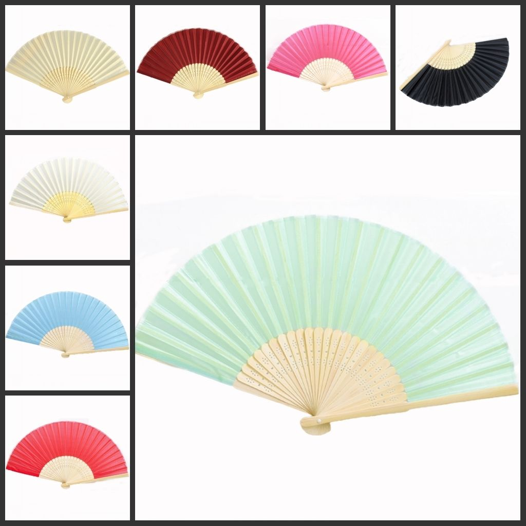White Fans Wedding Favor Hand Fans Wholesale Quality Silk Bamboo ...