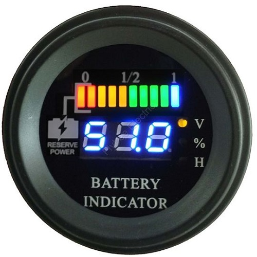 Round LED Battery Charge Indicator Meter Battery Level Indicator For on silver golf cart, automatic golf cart, the first golf cart, solar powered golf cart, radio controlled golf cart, carbon fiber golf cart,