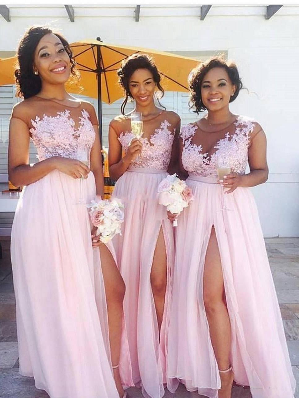 f52a9bc3e0c2 2019 Cheap Chiffon Blush Pink Bridesmaid Dresses Appliqued Illusion Bodice  Sexy Split Summer Black Women Maid Of Honor BM0146 Black And Red Bridesmaid  ...