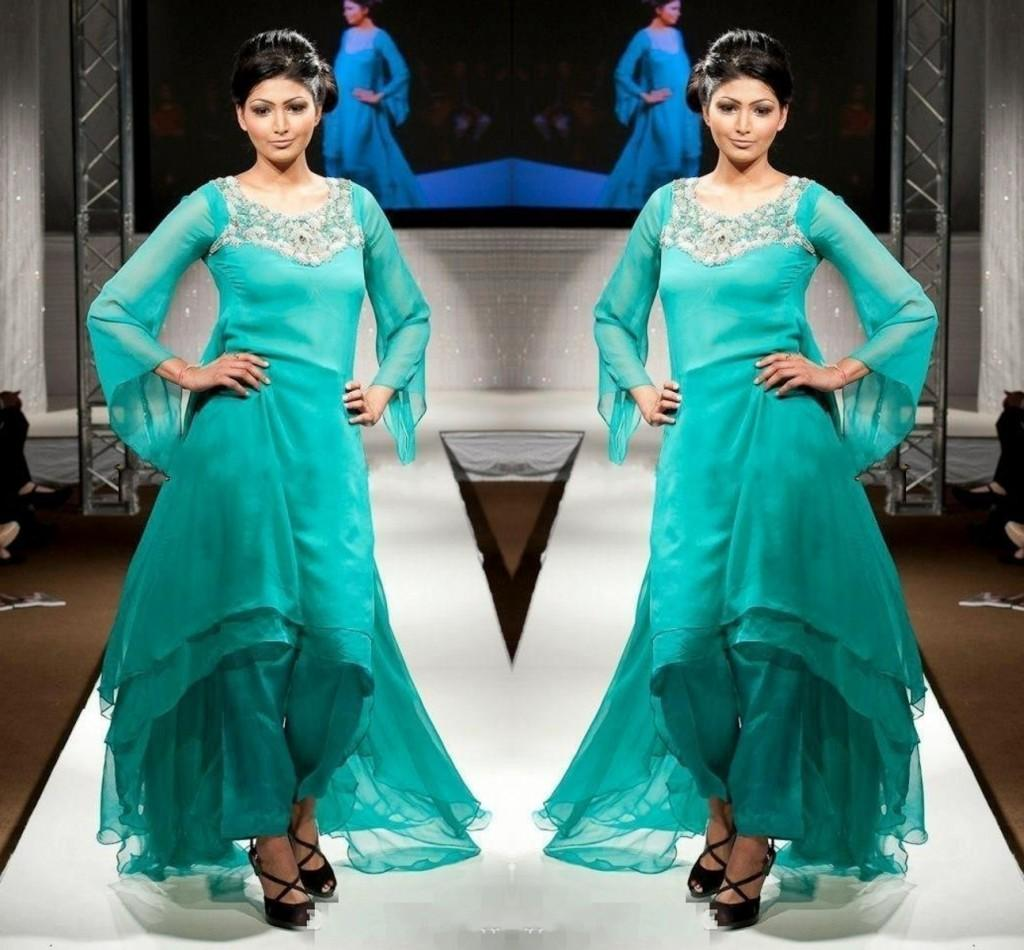 Modern dress of pakistan 2016 - 2016 Elegant Pakistani Long Sleeves Evening Dresses Beaded Crystal High Low Chiffon Tiered Formal Party Gowns Hunter Green Prom Dresses