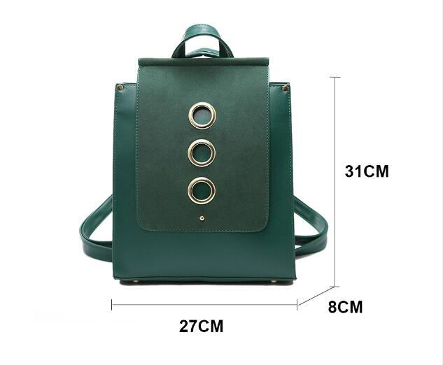 Fashion Bags 3 Big Metal Ring Scrub Pu Leather Backpack Women ...
