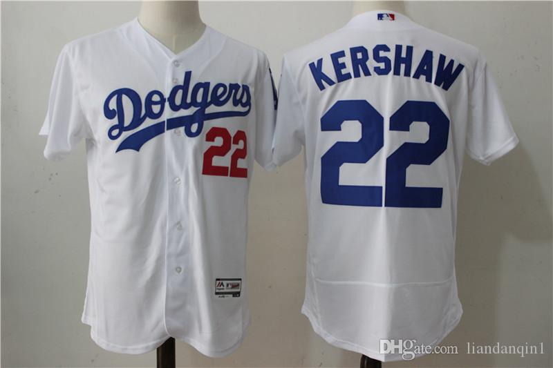 huge selection of 55f81 eed70 2017 Los Angel Dodgers #22 Kershaw Majestic Cool Base Player White Baseball  Jerseys Men Baseball Jerseys Athletic Jerseys Mens Uniforms From ...