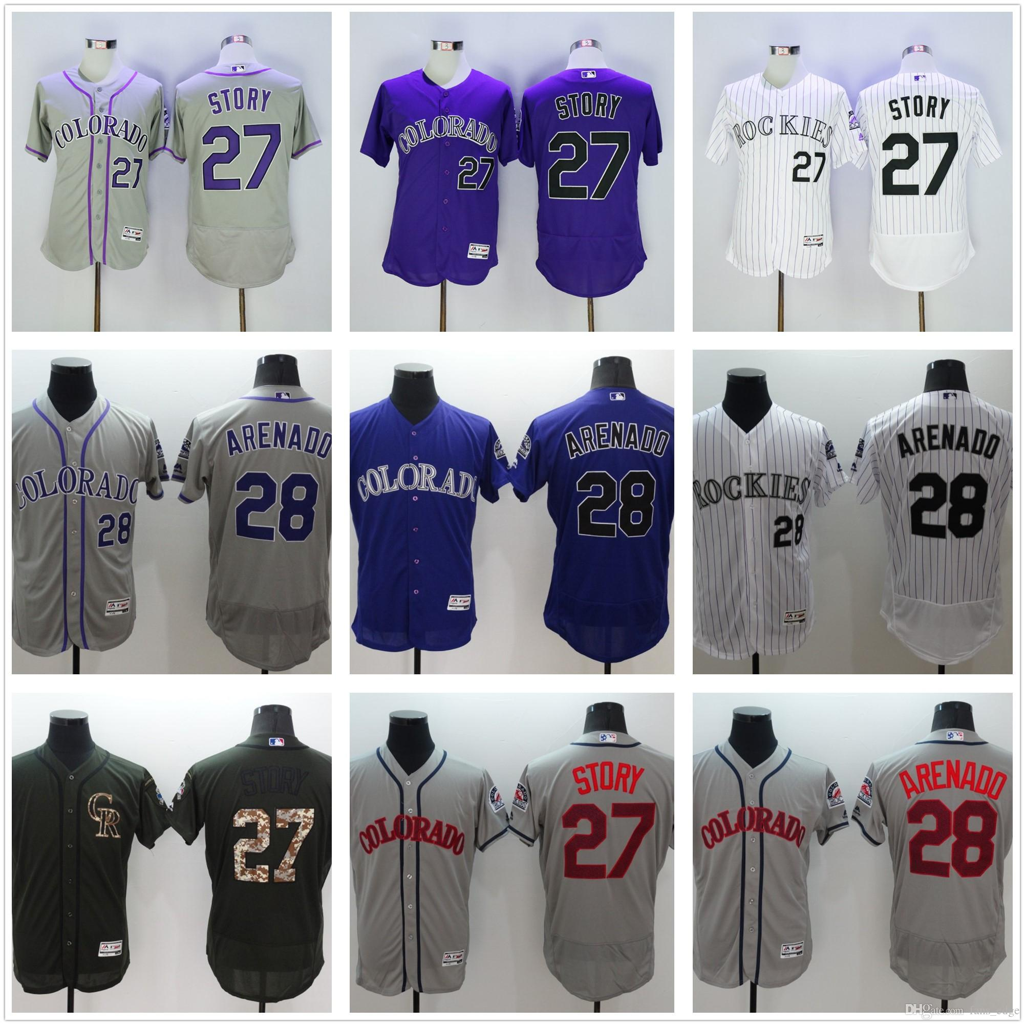 super cute a6fbc b3550 2017 2016 2017 Flexbase Stitched Colorado Rockies Jerseys 27 Trevor Story  28 Nolan Arenado White Gray Purple Baseball Jersey From Fans_edge, $14.19 |  ...