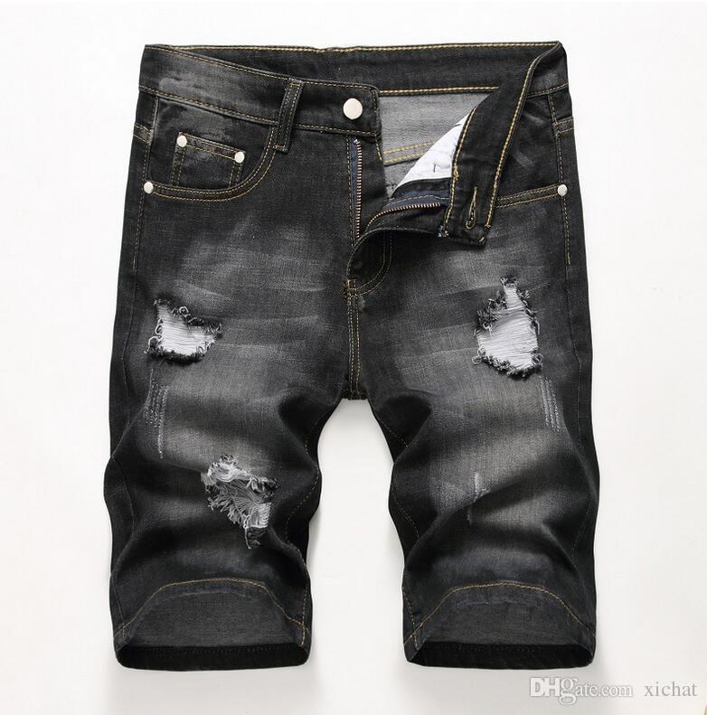 Cheap Men Designer Slim Ripped Black Denim Shorts Distressed Short Jeans Bleached Retro Denim Shorts Big Size 42 Trousers JB3