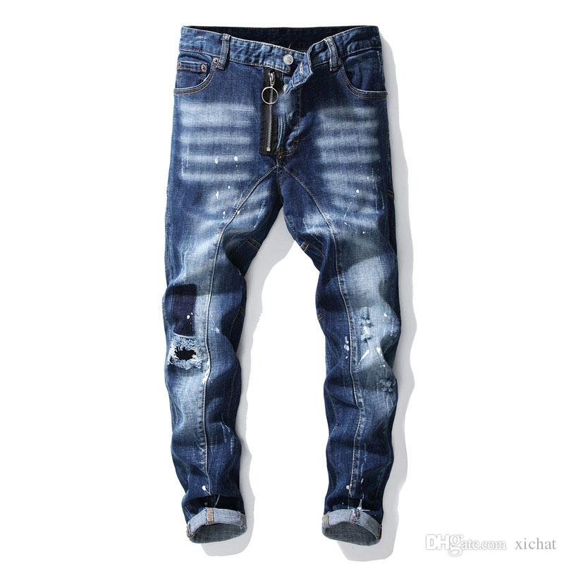 Unique Mens Rips Stretch Blue Jeans Fashion Designer Slim Fit Washed Motocycle Denim Pants Panelled Hip HOP Trousers 1021