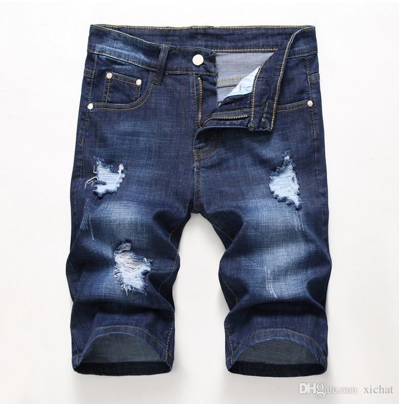 Cheap Men Designer Slim Ripped Shorts Distressed Short Jeans Bleached Retro Denim Shorts Big Size 28-42 Trousers JB3