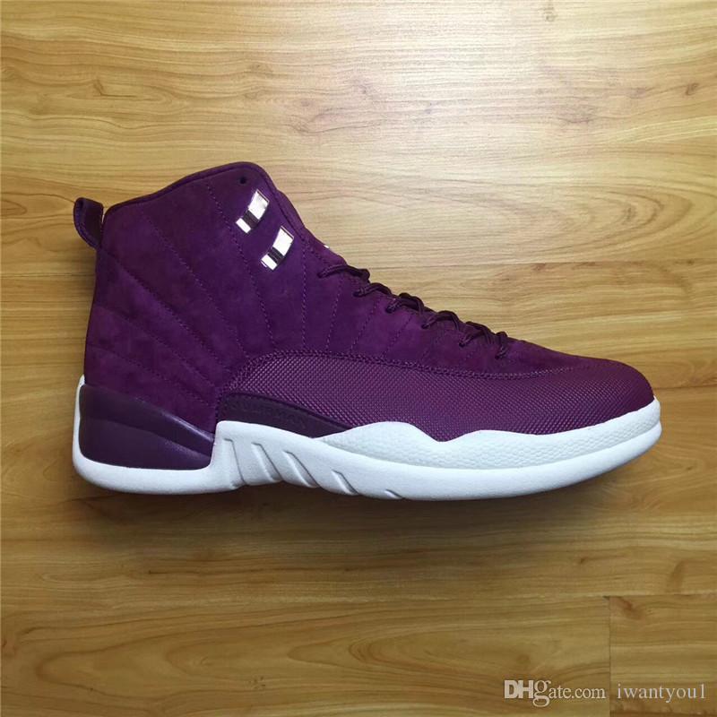 best service f8578 edee2 Air Retro 12 Bordeaux Men Basketball Shoes Men's 12'S Sneakers Real Carbon  Fiber Green Purple White 2017 Limited Release 130690-617 Shoes