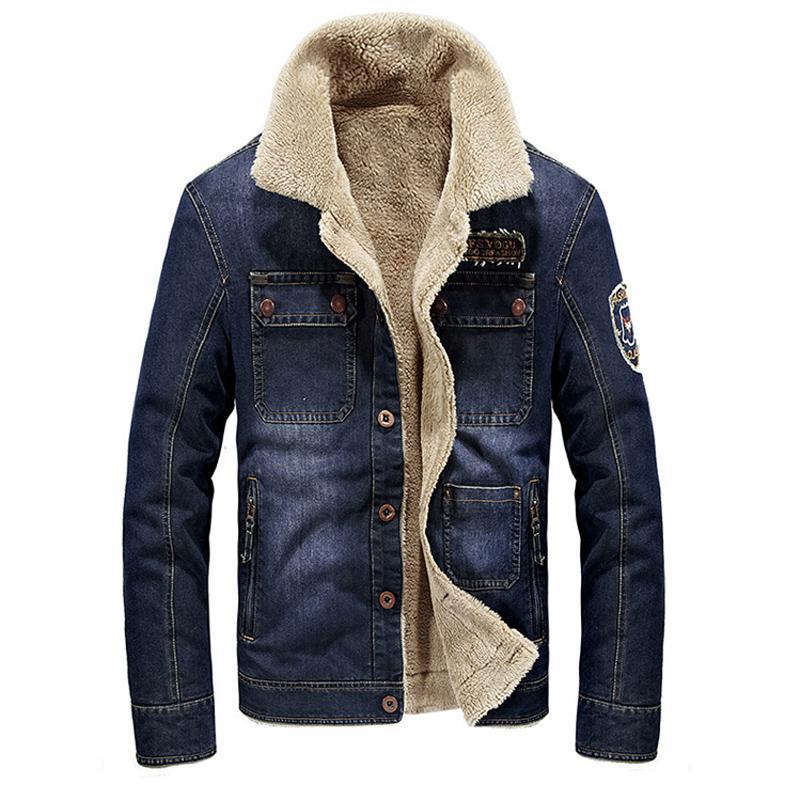 Shoptagr Dimusi Winter Men Jacket Fashion Men Denim Jacket Fur