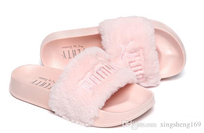 info for dc7b9 8cc17 Brand New Rihanna Fenty Leadcat Fur Slides - Pink, Black, White Slide  Sandal Womens Slippers retail