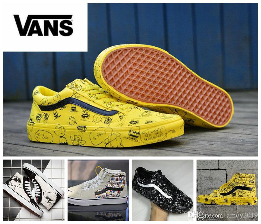 Buy Vans x PEANUTS Black Cartoon Shoes Lav toppGRATIS FRAKT  2018 Vans Peanuts Men Women Canvas Shoes Snoopy