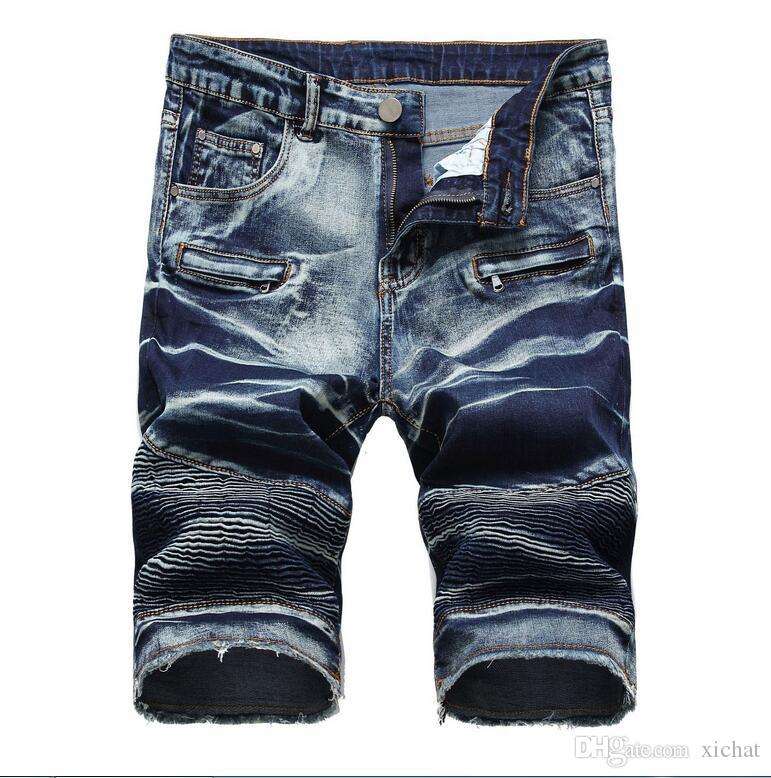 hot sell men's Casual Cotton mens jean shorts creases designer retro Men's hole Knee Length denim Shorts jeans big size trousers size 28-42