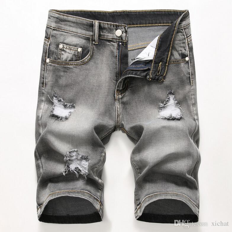 Cheap Men Designer Slim Ripped Black Denim Shorts Distressed Short Jeans Bleached Retro Denim Shorts Big Size 42 Best Trousers JB3