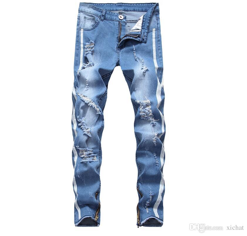 2019 Men's Distressed Ripped Skinny Jeans Fashion Designer Jeans Slim printing Biker Causal Mens Denim Pants Hip Hop Men Jeans LB2215