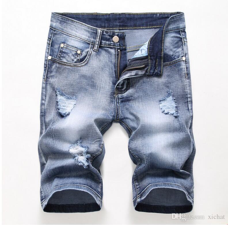 Cheap Men Designer Slim Ripped Shorts Distressed Short Jeans Bleached Retro Denim Shorts Big Size 40 42 Trousers JB3
