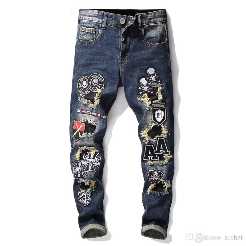 Top quality men's elastic embriodery skull fashion Jeans Designer Men Jeans Famous Brand Slim Fit Mens Printed Jeans Denim Pants 068