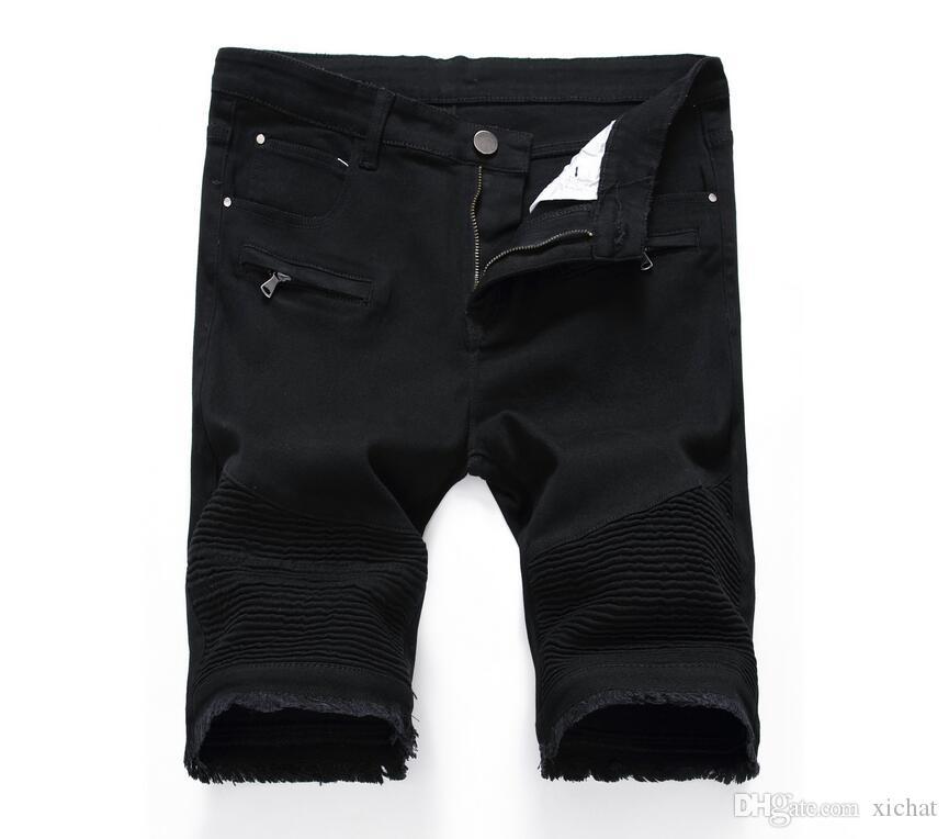 Unique Mens Ripped Motocycle Denim Shorts Jeans Fashion Designer Scratched Zipper Pocket Retro Big Size Panelled Short Jeans Trousers 3306