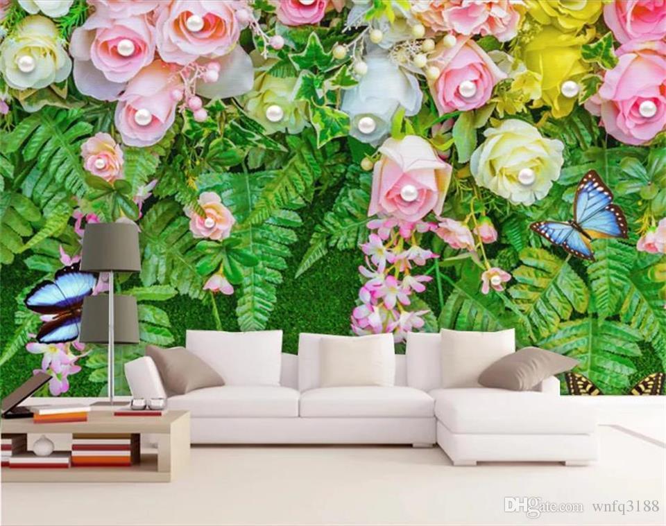 العرف حجم 3d صور خلفيات جدارية غرفة المعيشة غرفة نوم زهرة جوهرة