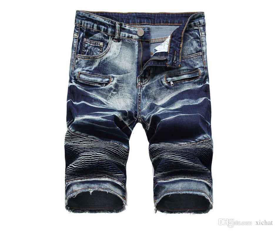 Unique Mens Ripped Motocycle Denim Shorts Jeans Fashion Designer Scratched Zipper Pocket Retro Big Size Panelled Short Jeans Trousers 1763