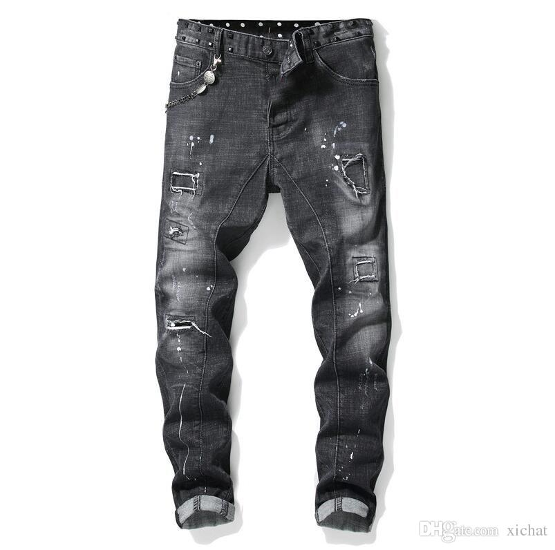 Unique Mens Painted Rips Stretch Black Jeans Fashion Designer Slim Fit Washed Motocycle Denim Pants Panelled Hip HOP Trousers 1013