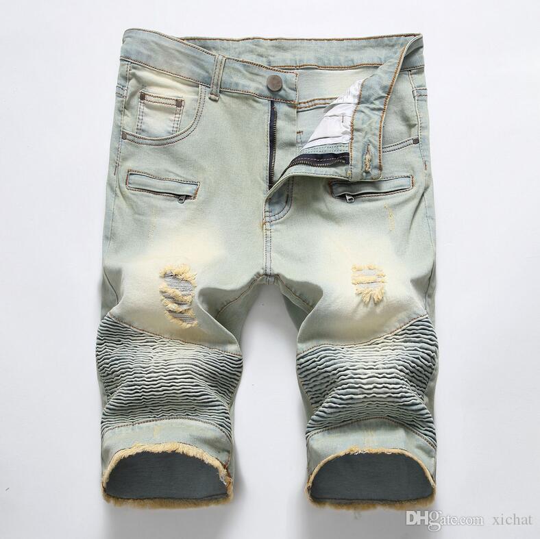 Unique Mens Ripped Motocycle Denim Shorts Jeans Fashion Designer Scratched Zipper Pocket Retro Big Size Panelled Short Jeans Trousers 1745