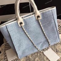 92e957c8568 2019 Summer Travel Beach Canvas Bag Fashion Large Shopping Bag Genuine  Leather Handle Tote Women s Beach Handbags 38cm Wholesale