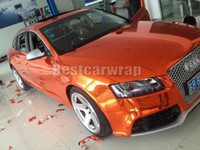 Wholesale car body lining sticker online - Stretchable Orange Chrome Vinyl Wrap Car Wrap Air Bubble Free Flexible Chrome Wraps Vehicle Easy install chrome foil x20m Roll