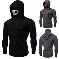 6dfd2b31b912ba Wholesale pullover hoodies joggers online - Mask Skull Design Mens Hoodies  Slim Hooded Sweatshirts Solid Color
