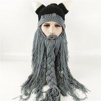 76424e843a837 Funny Wig Beard Viking Handmade Knitted hats Winter Warm Crochet Caps Men  Women Halloween Christmas Gift Party Face Mask Beanies Xmas horn