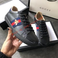 92f16377fde top boxed men or women g04 unisex mens womens gucci bees ace embroidery  printing white Genuine leather shoes sneakers