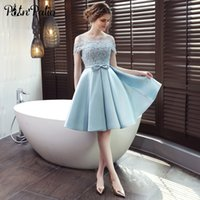 7a9d7b1dda3 Elegant Satin Prom Dress Sexy Lace Applique Off the Shoulder Knee-Length  Open Back Lace Up Formal Gowns Short Evening Party Dres