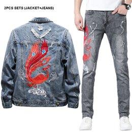 Homme Slim Stretch Jeans Détruit Ripped patch Phoenix broder Jeans Pantalon