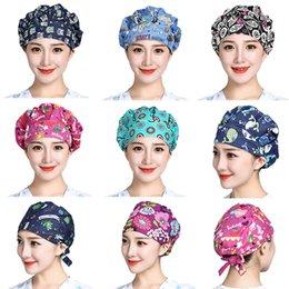 3PCS Women Bouffant WorkingScrub Cap Floral Printed Cotton Head Hair Cover Hats