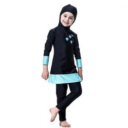 Modest Muslim Women Kids Girls Swimwear Full Cover Swimsuit Islam Beachwear Set