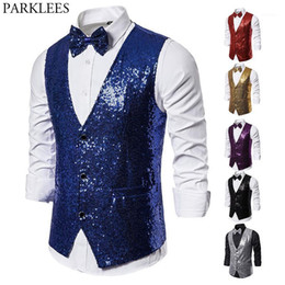 V-Neck Waistcoat Costume for Party with Bow Tie IsFashion Mens Sequin Vest