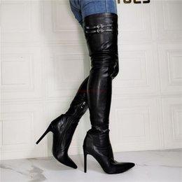 Mesdames stretch Cuissardes Overknee Bottes Stiletto Talons Compensés à bout pointu chaussures plus