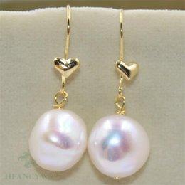 14-15mm Peacock blue Baroque Pearl Earrings 18k Natural Women Real Flawless