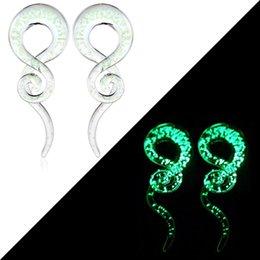 Glow in the Dark verre Escargot Oreille Plug Flare Spirale Expander Civière Piercing