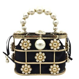 HKDUC Handmade Beaded Pearls Evening Bags Elegant Full Dress Women Day Clutch Ivory White Purse and Handbags Chains Shoulder Bag