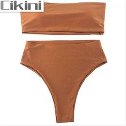 EONAR Womens Halter Bandeau Bikini Top Cheeky Brazilian Briefs Swimwear