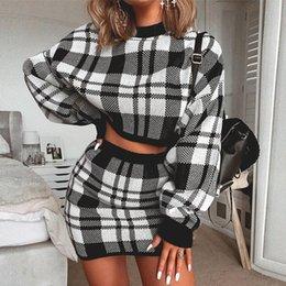 Mini Skirt Co Ord Party Holiday Dress Set Womens Plaid Check 2PCS Crop Top