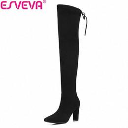 Mode Femmes Escarpins Plateforme Stiletto 34-43 Lacets Stretch-Bottes Overknee dentelle