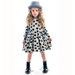 Bohemian Styled Clothes Wholesale Canada - Baby Kids Clothing Girls' Dresses 2018 Spring Autumn Korean Preppy Style Cotton Boat Neck long sleeve Animal cat Printed A-Line Dress