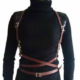 Women Faux Leather Waist Harness Belt With Chains Fetish Bdsm Suspender Garters