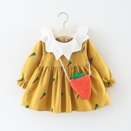 746651f1e 2018 Korean version spring and autumn hot style girl dress turnip messenger  bag long-sleeved flower petal round neck hair princess skirt